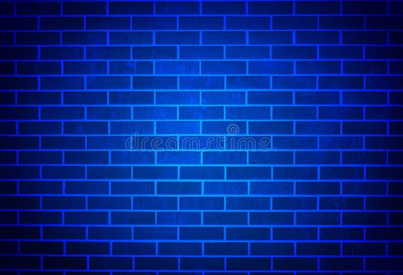 Blue Brick Wall With Soft Spotlight Royalty Free Stock Image