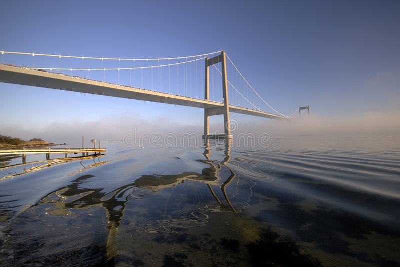 Blue, bridge and fog royalty free stock photo