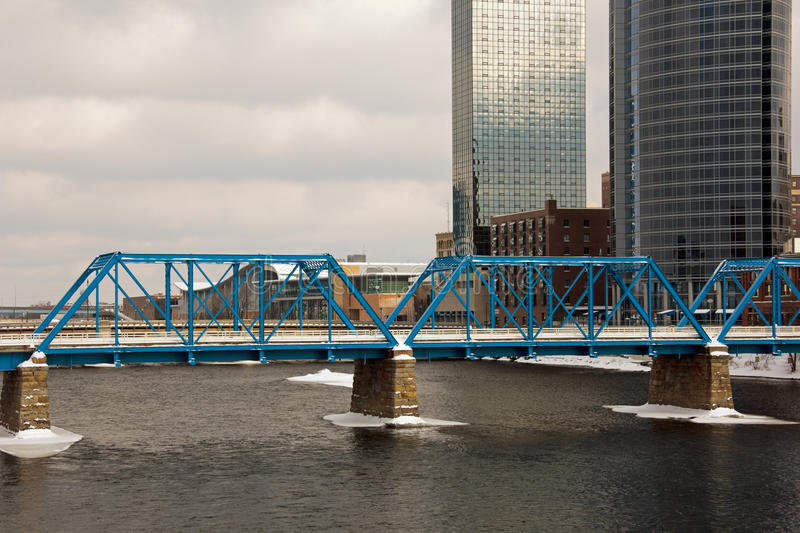 Blue Bridge in Grand Rapids royalty free stock photography