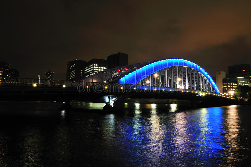 Blue bridge at night stock images