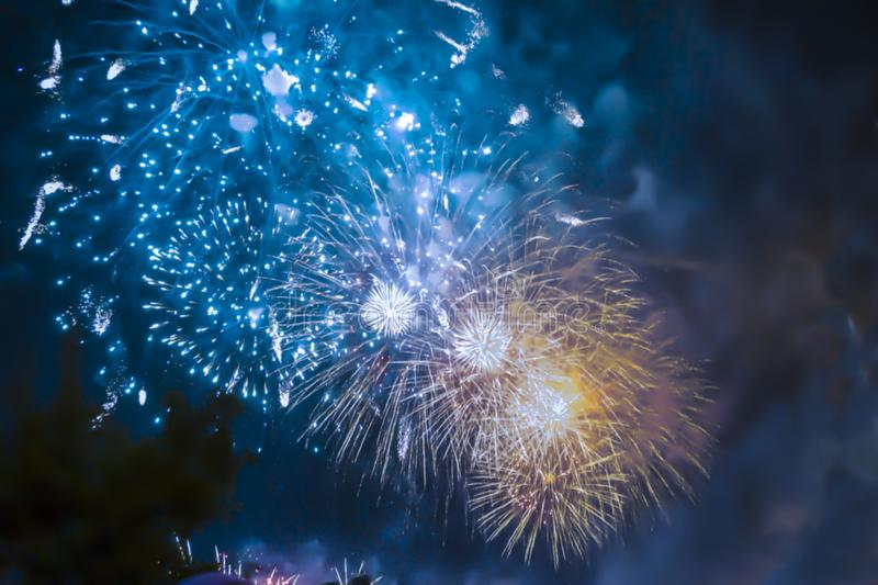 Blue bright blurred fireworks effect abstract colorful background holiday. Celebration royalty free stock images