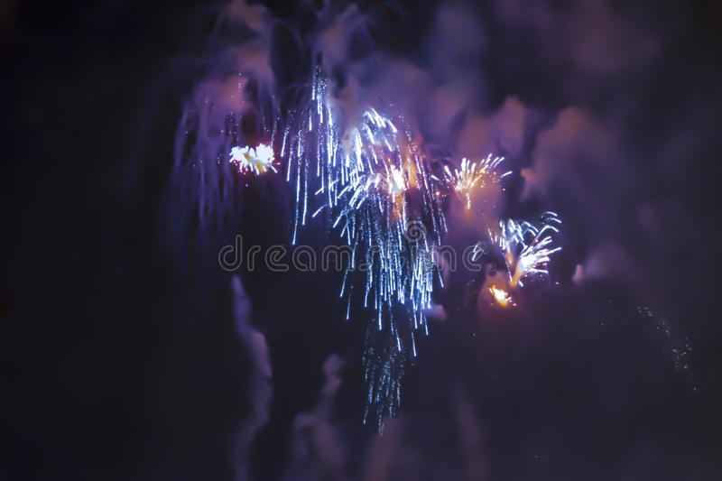 Blue bright blurred fireworks effect abstract colorful background holiday. Celebration stock photos