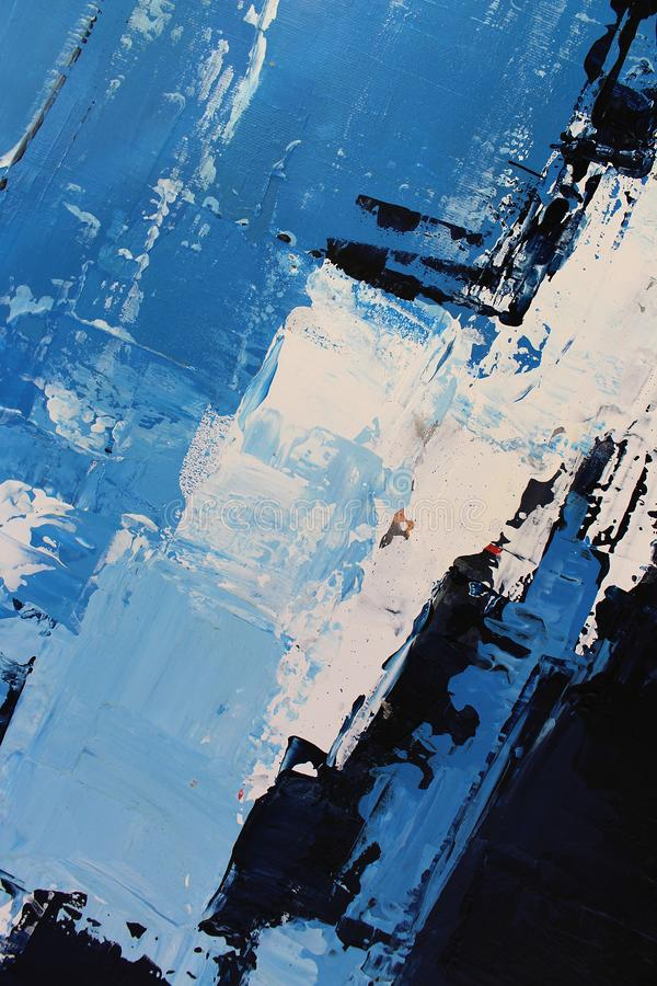 Blue bright colors on canvas.Oil painting. Abstract art background. Oil painting on canvas. Color texture. Fragment of artwork. Hand drawn oil painting stock image