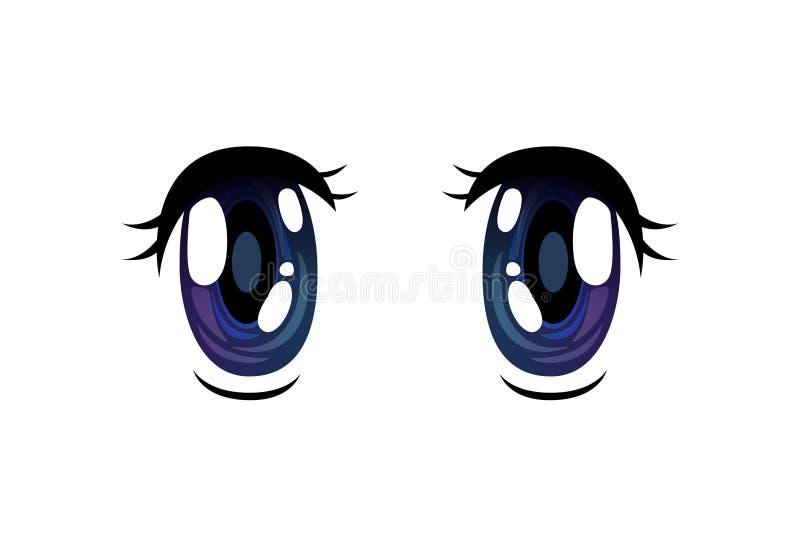 Blue Bright Eyes, Beautiful Eyes with Light Reflections Manga Japanese Style Vector Illustration. On White Background royalty free illustration