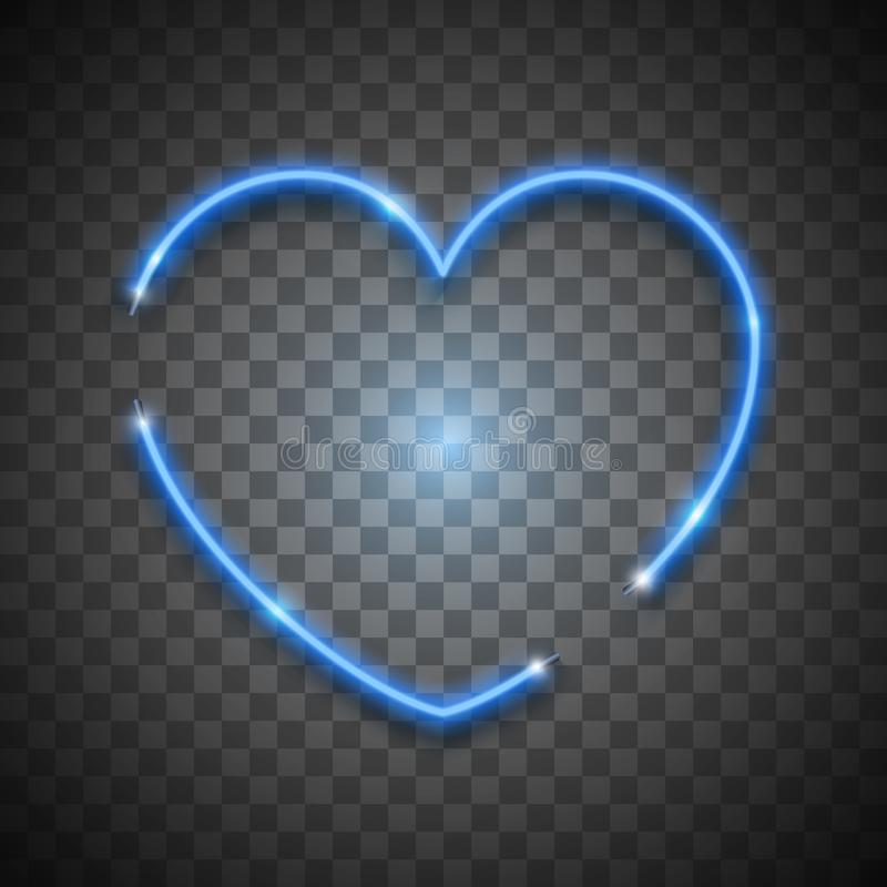 Blue bright vector neon heart on transparent background, vector neon sign. Isolated design element for Valentine`s day. Blue bright vector neon heart on stock illustration