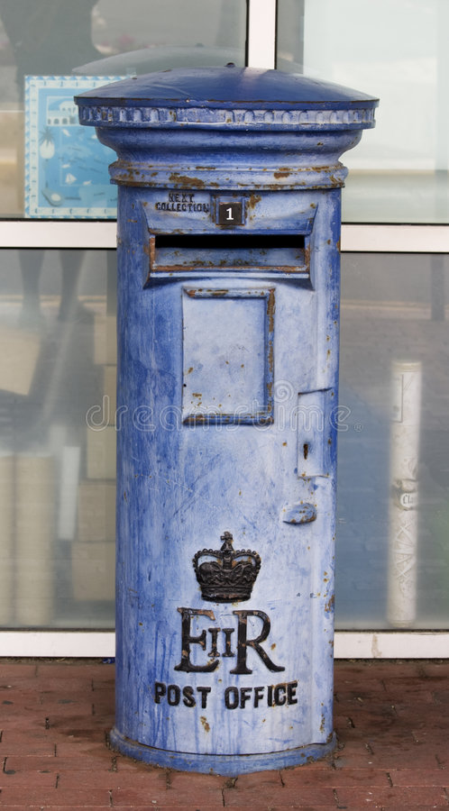 Blue British mail box royalty free stock images