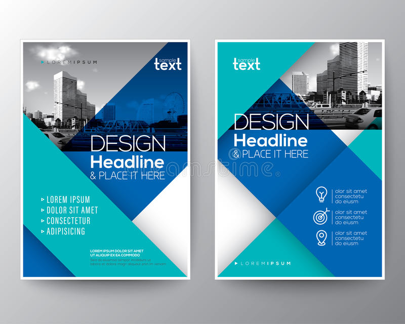 Blue Brochure annual report cover Flyer Poster design Layout vector illustration