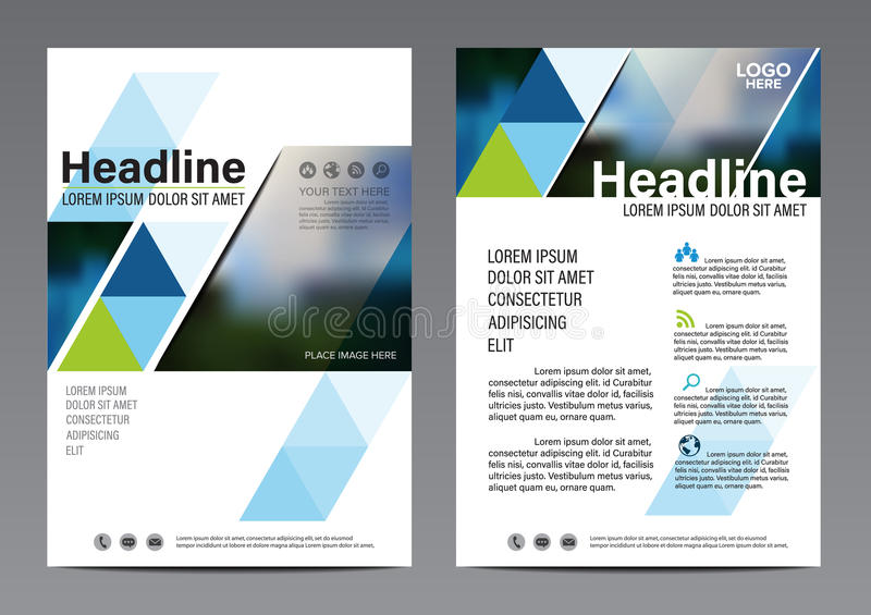blue Brochure Annual Report Flyer design template. stock illustration