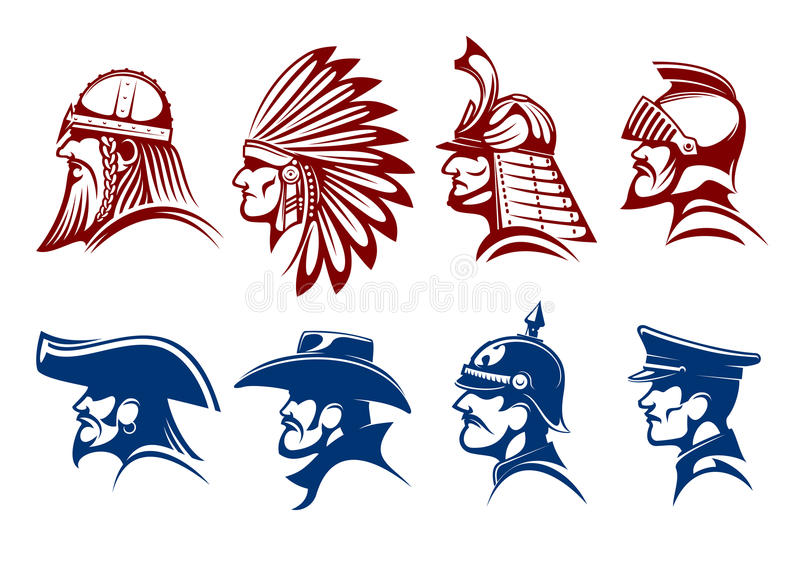 Blue And Brown Icons Of Warriors Soldiers Symbols Stock Vector