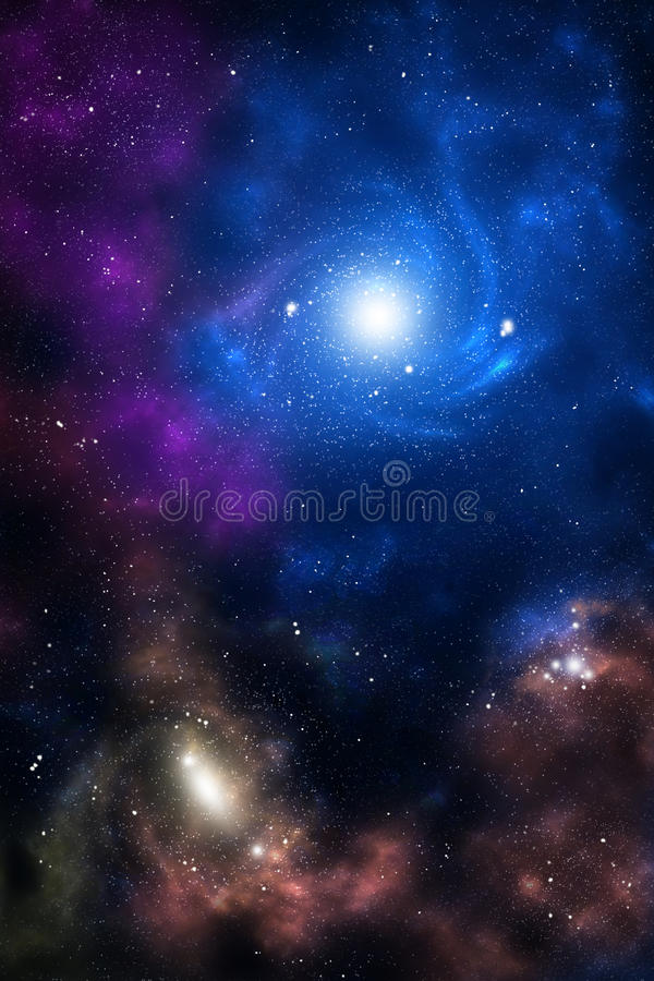 Blue and brown space galaxy vector illustration