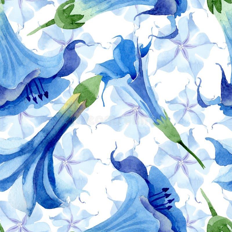 Blue brugmansia floral botanical flowers. Watercolor background illustration set. Seamless background pattern. Blue brugmansia floral botanical flowers. Wild stock illustration
