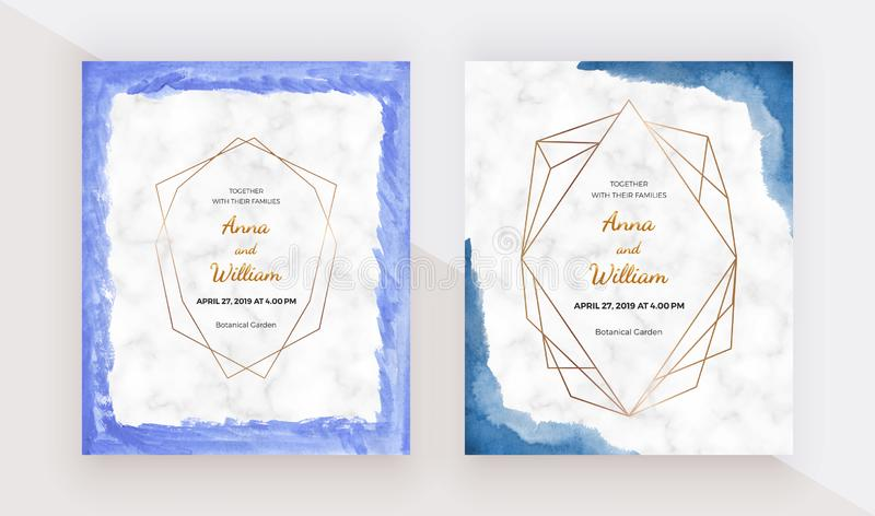 Blue brush stroke border watercolor texture with golden polygonal lines frames on the marble texture. Modern hand painting templat. E for wedding invitation stock illustration