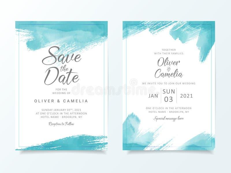 Blue Brush Stroke Wedding Invitation Card Template Elegant Abstract Background Save The Date Invitation Greeting Card Multi Stock Vector Illustration Of Bridal Invitation 165058313