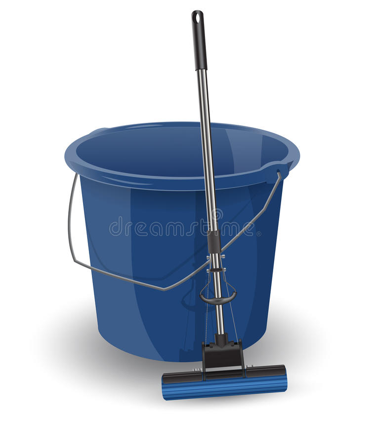 Blue bucket with a mop. Realistic vector object isolated on white background. Objects for cleaning the premises royalty free illustration