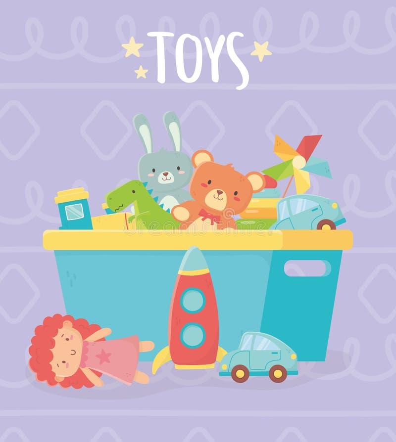 Free Blue Bucket With Many Funny Toys Royalty Free Stock Photos - 164396288
