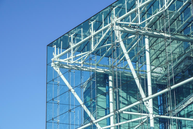 Blue building all glass square patern on white sky background royalty free stock photos