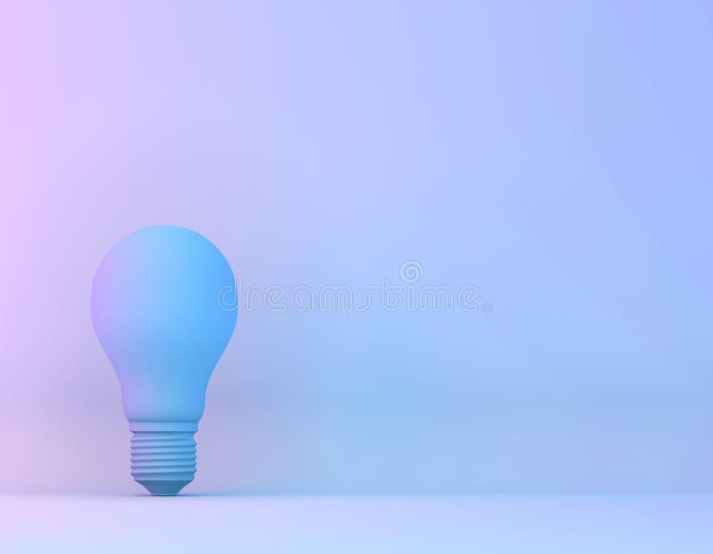 Blue bulb in vibrant bold gradient purple and blue holographic colors background. Minimal concept art surrealism.  stock images