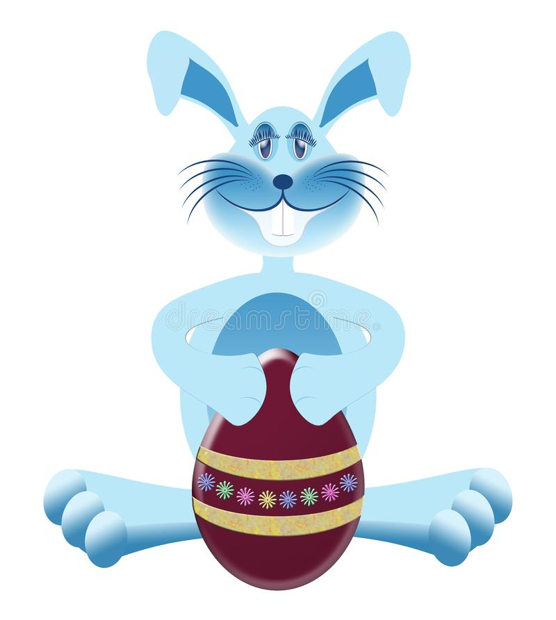 Download Blue Bunny with Easter Egg stock illustration. Illustration of merry - 8412348