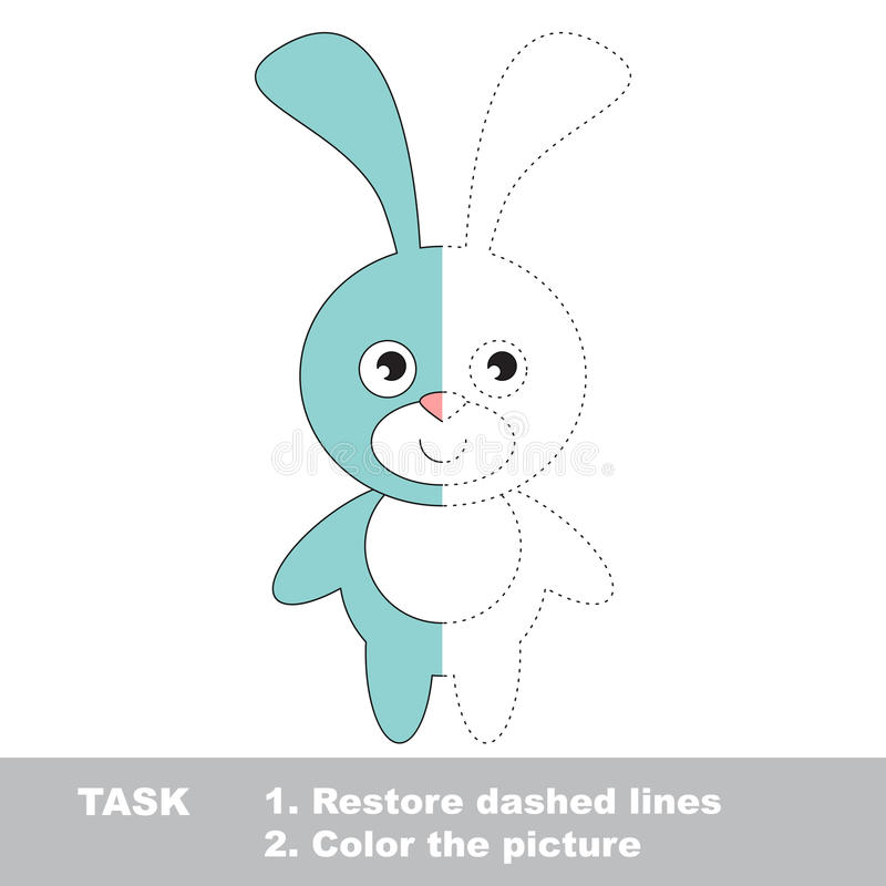 Blue Bunny to be colored. Vector trace game. Blue Bunny in vector colorful to be traced. Restore dashed line and color the picture. Visual game for kids vector illustration