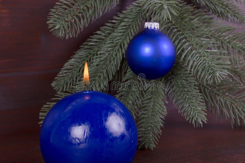 Blue Burning Candle On Christmas Royalty Free Stock Photography