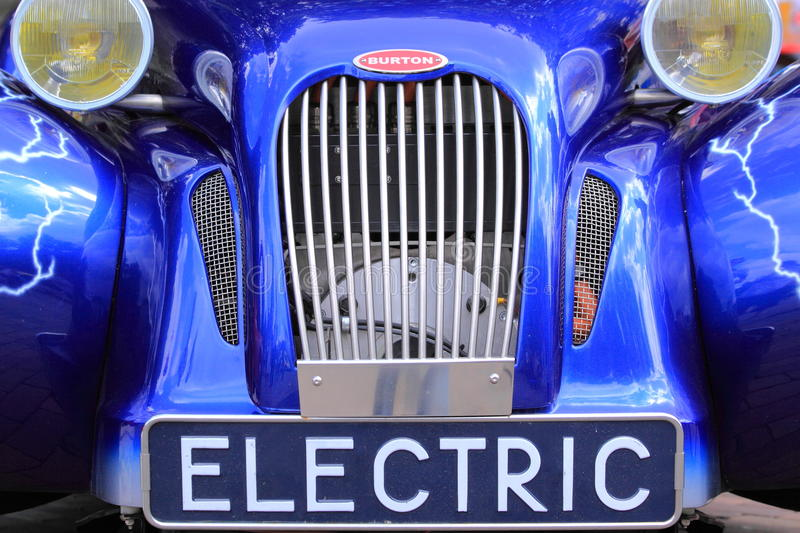 Blue burton electric old timer car stock photography