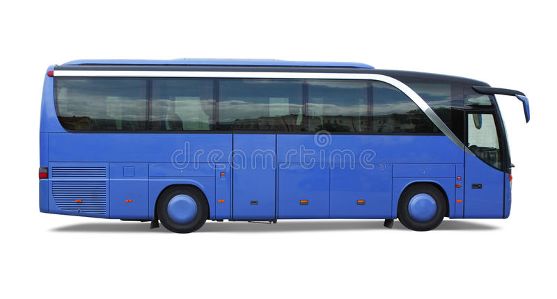 Blue bus stock image