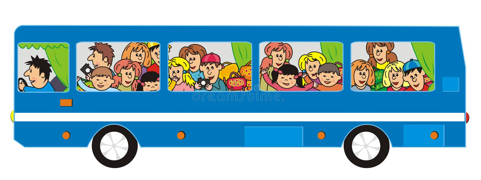 Blue bus and group of kids and adults. Isolated funny illustration, vector icon. People go by bus on the trip royalty free illustration