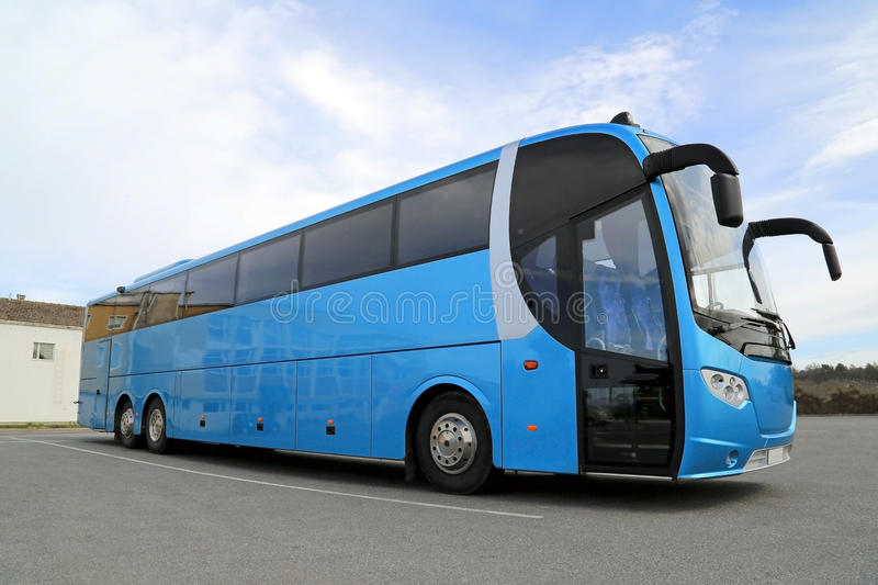 Blue Bus on Parking Lot royalty free stock image