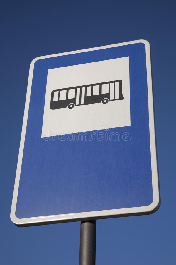 Blue Bus Stop Sign stock images