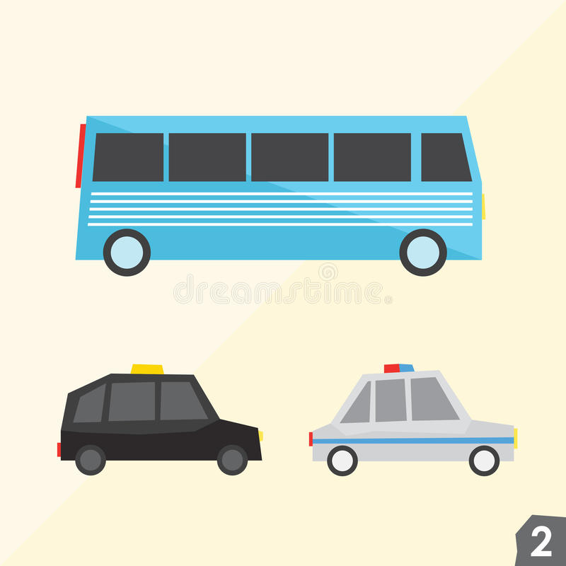 Blue bus, taxi cab, police car. Transportation. Vector set two royalty free illustration