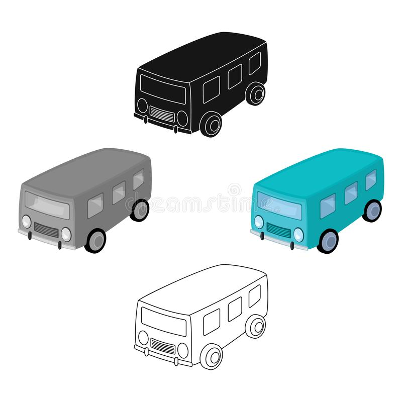 Blue bus for the transportation of a small number of people around the city and the village.Transport single icon in. Cartoon style vector symbol stock web royalty free illustration