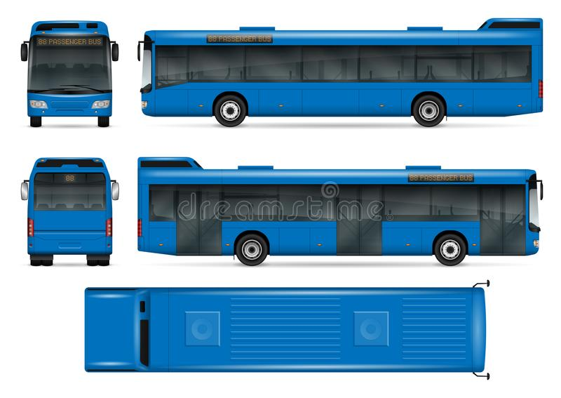 Blue bus vector mockup. Blue bus vector mock-up for advertising, corporate identity. Isolated city transport template on white background. Vehicle branding stock illustration