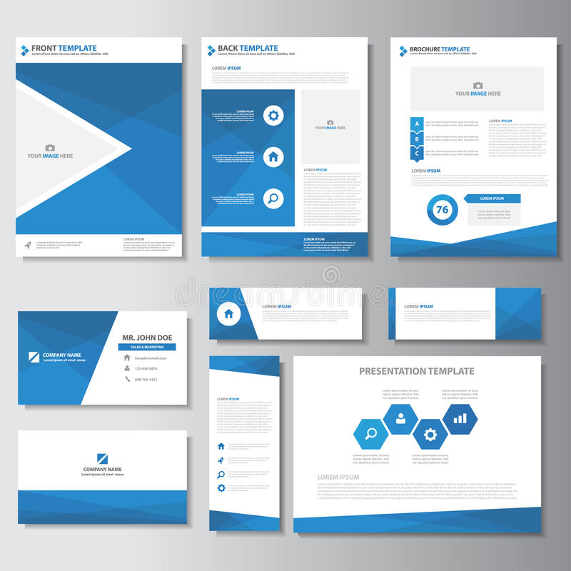 Blue business brochure flyer leaflet presentation card template Infographic elements flat design set for marketing stock illustration