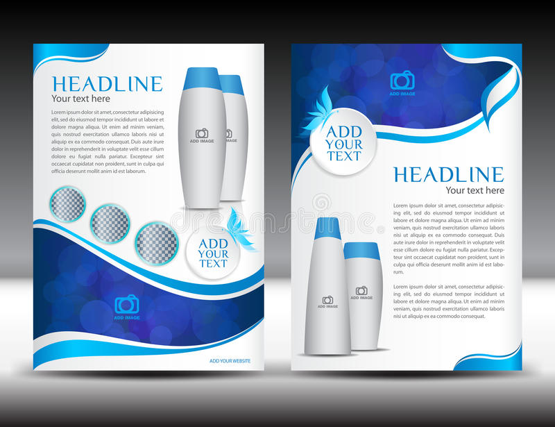 Blue business brochure flyer template design newsletter magazine. Ads cosmetics, advertisement, leaflet, poster, annual report, cover template, booklet vector illustration