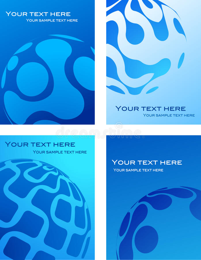 Blue business card template design. Collection of business card template design with globe logo