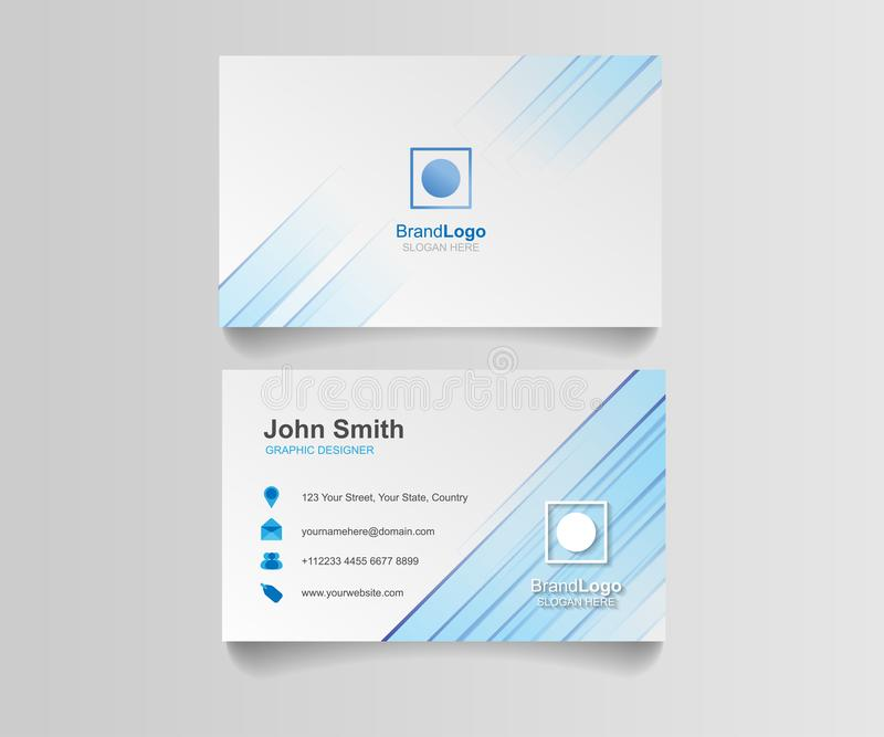 Blue business card template illustration design. Identity vector corporate blank royalty free illustration