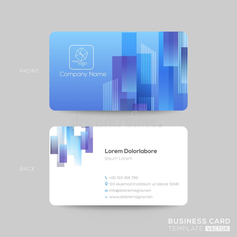 Blue business card template with rectangle shape graphic element on blue background. Clean and simple design royalty free illustration