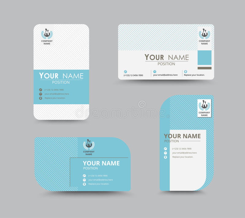 Blue business contact card template design. vector stock royalty free illustration