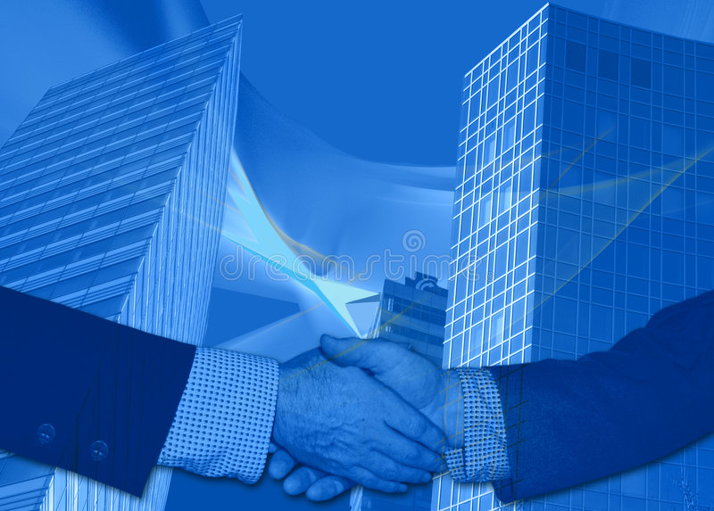 Blue business deal. This design has an abstract waves background with skyscraper-like business buildings with gridlike patterns. The handshake is symbolic for royalty free illustration