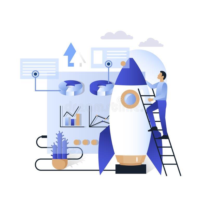 Blue business future technologies vector concept illustration. Futuristic blue virtual graphic touch user interface hud, businessman climbing rocket ladder vector illustration