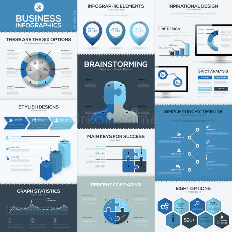 Blue business infographics vector elements and templates stock illustration