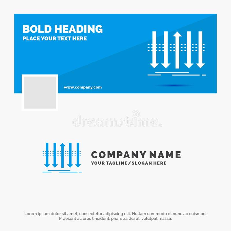 Blue Business Logo Template for Arrow, business, distinction, forward, individuality. Facebook Timeline Banner Design. vector web. Banner background royalty free illustration