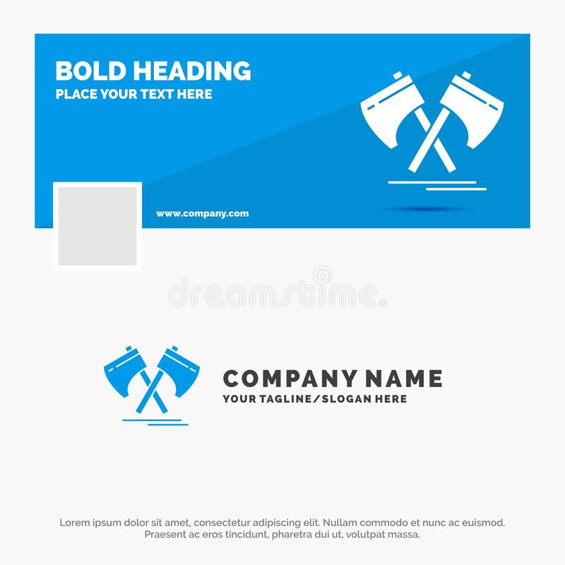 Blue Business Logo Template for Axe, hatchet, tool, cutter, viking. Facebook Timeline Banner Design. vector web banner background. Illustration. Vector EPS10 vector illustration
