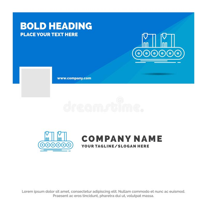 Blue Business Logo Template for Belt, box, conveyor, factory, line. Facebook Timeline Banner Design. vector web banner background stock illustration