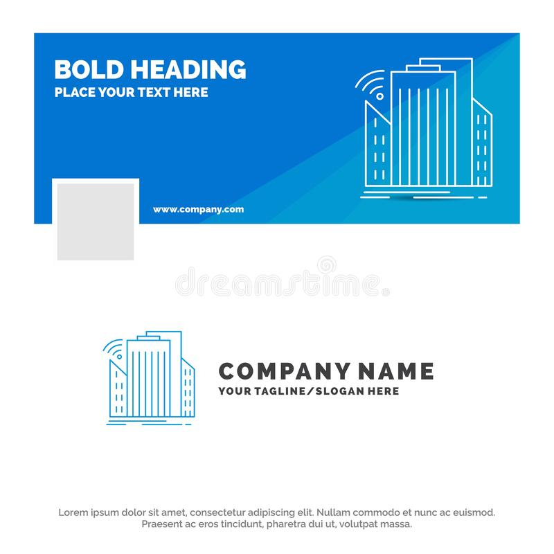 Blue Business Logo Template for Buildings, city, sensor, smart, urban. Facebook Timeline Banner Design. vector web banner stock illustration