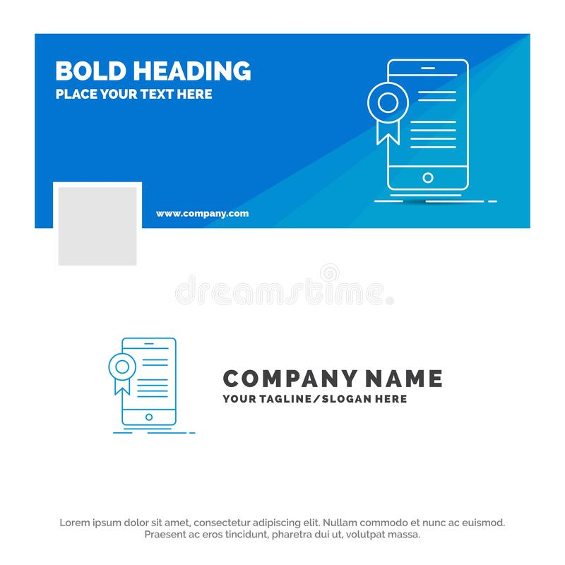 Blue Business Logo Template for certificate, certification, App, application, approval. Facebook Timeline Banner Design. vector stock illustration