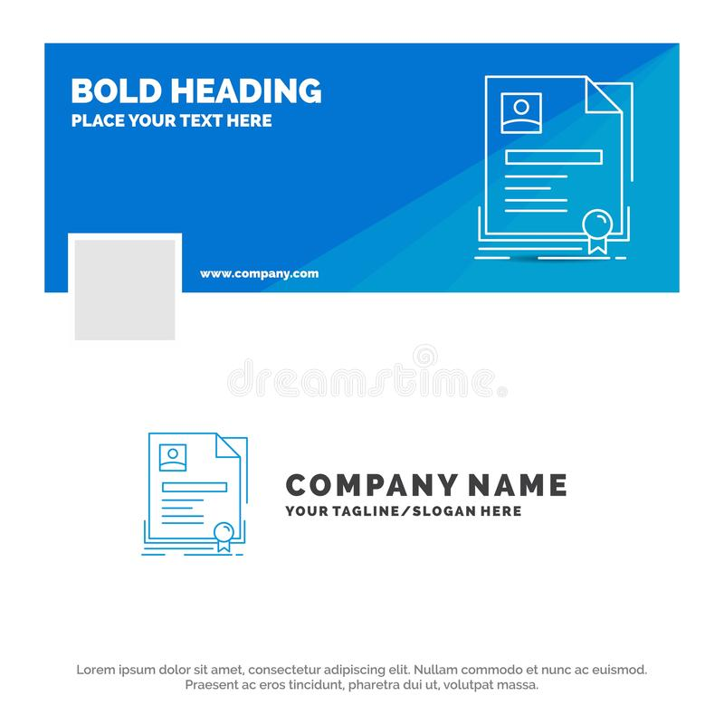 Blue Business Logo Template for Contract, badge, Business, agreement, certificate. Facebook Timeline Banner Design. vector web royalty free illustration