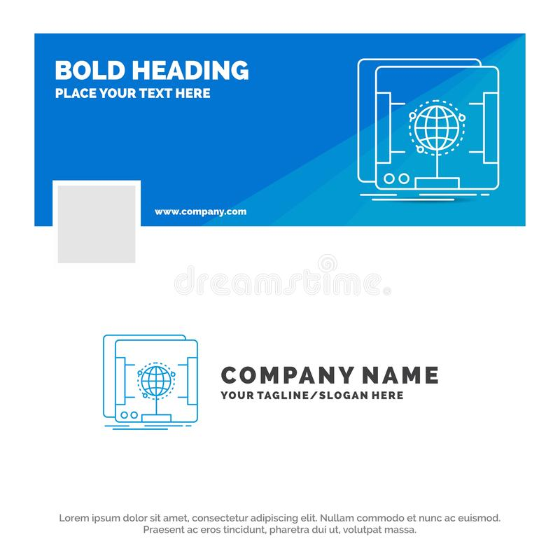 Blue Business Logo Template for 3d, dimensional, holographic, scan, scanner. Facebook Timeline Banner Design. vector web banner. Background illustration. Vector royalty free illustration