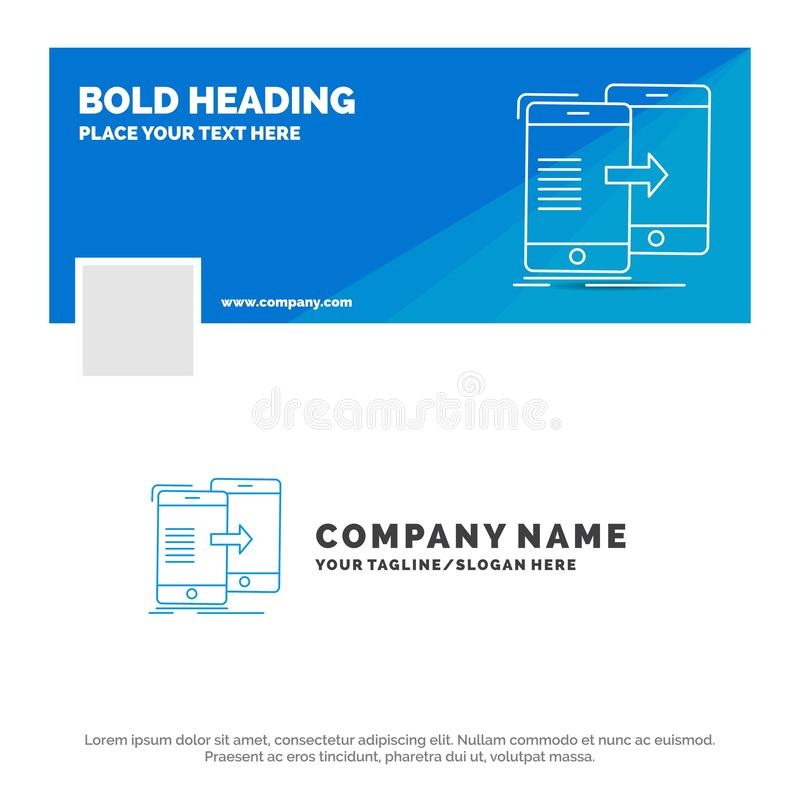 Blue Business Logo Template for data, Sharing, sync, synchronization, syncing. Facebook Timeline Banner Design. vector web banner. Background illustration stock illustration