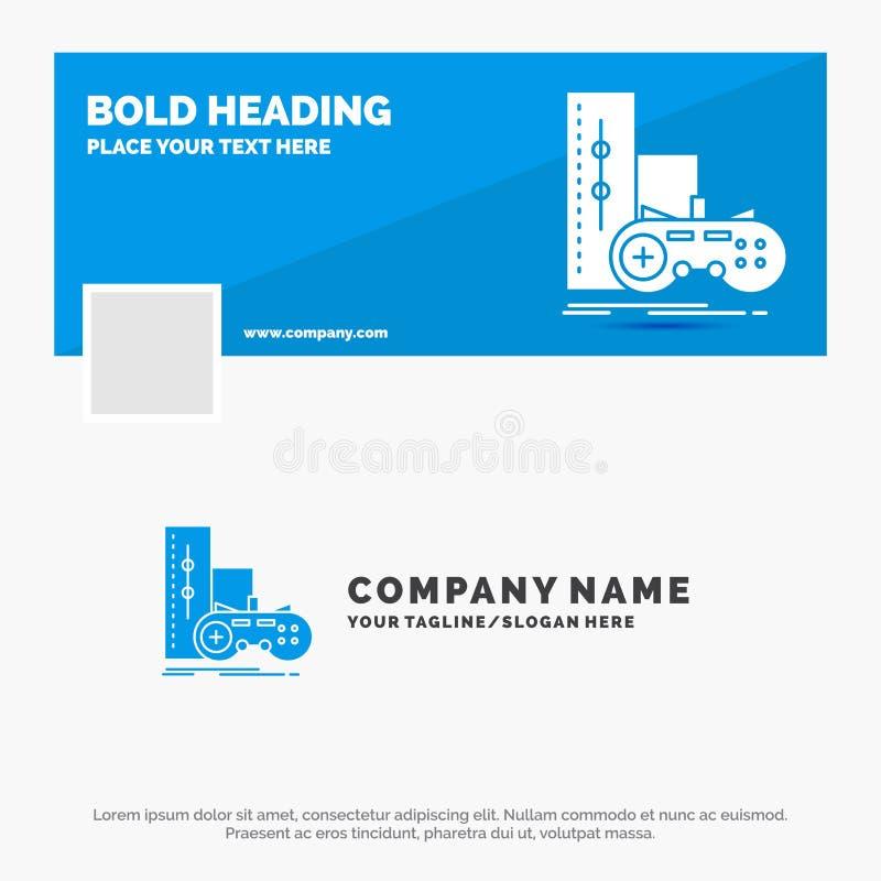 Blue Business Logo Template for game, gamepad, joystick, play, playstation. Facebook Timeline Banner Design. vector web banner. Background illustration. Vector stock illustration